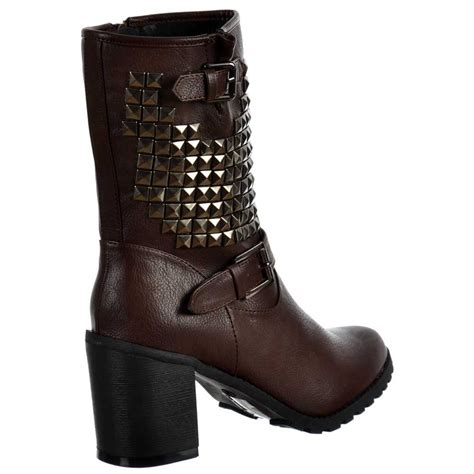 onlineshoe biker studded block heel ankle boots brown
