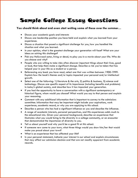 College Essay Question Exles exles of college essays summer c entrepreneur college admission essay exle 52568 jpg