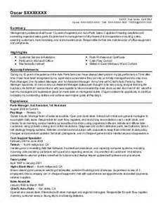 Autozone Parts Sales Manager by Parts Sales Manager Resume Exle Autozone Grand Junction Colorado