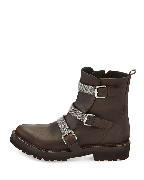 Ap Boots Moto 3 1 brunello cucinelli leather moto boot in brown