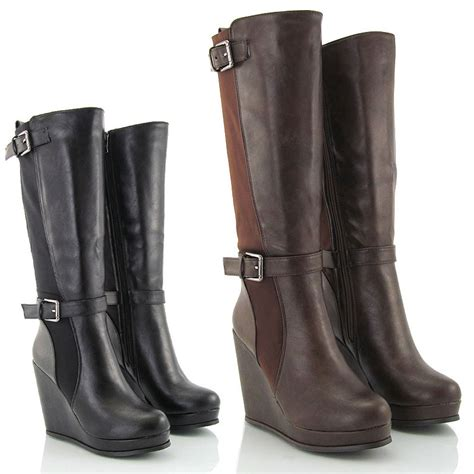 wedge heel stretch calf womens elastic knee high