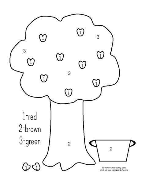 Free Coloring Pages Of Colour By Numbers Tree Tree Color By Number Coloring Pages