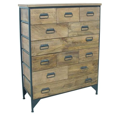 industrial wooden 12 drawer sideboard tallboy made from