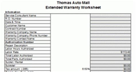 Free Auto Repair Invoice Auto Repair Warranty Template