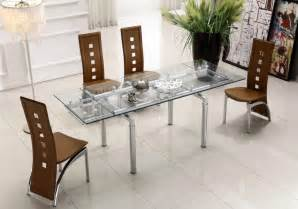 contemporary dining room set extendable clear glass top leather modern dining table