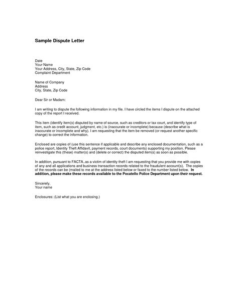 Debt Dispute Letter Template Sle Letter For Disputing A Debt Collection Notice