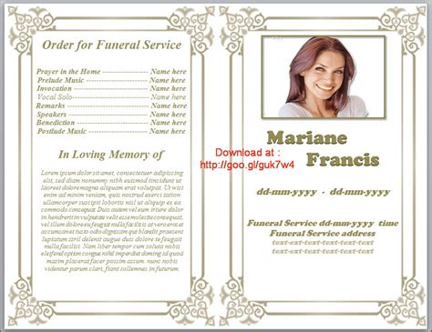 free funeral program template printable funeral program template free by
