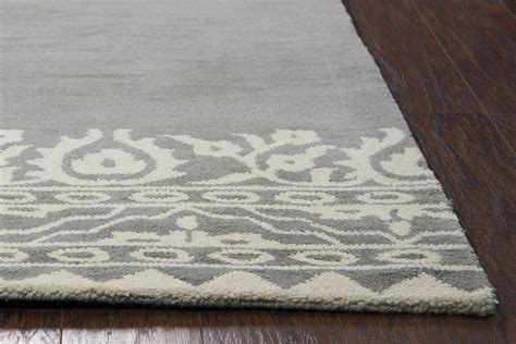 Wool Runner Rugs Marianna Fields Floral Motif Border Wool Runner Rug In Gray 2 6 Quot X 8