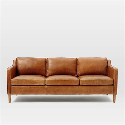 sofa leather hamilton leather sofa 81 quot west elm