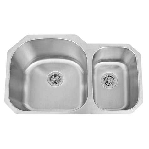 d shaped kitchen sink 32 quot infinite d shaped 70 30 offset double bowl stainless