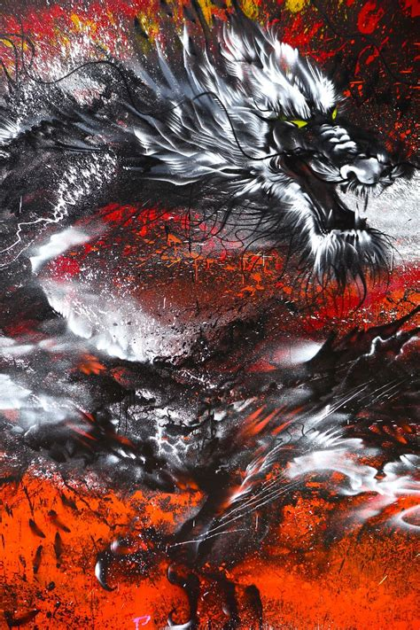 imperial dragon  splattered wall mural   powerful