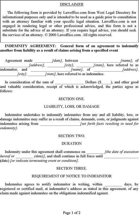 free indemnity form template indemnity agreement free premium templates