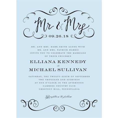 calligraphy mr and mrs standard wedding invitation walmart