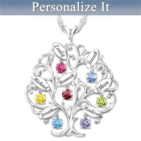 Alized Birthstone Family Tree Pendant Necklace