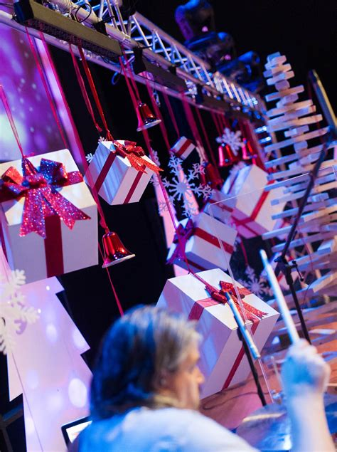 christmas themed school events trees and boxes church stage design ideas