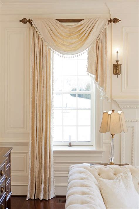 Valances For Bedroom Windows Designs Asymmetrical Pole Swag Is Nicely Proportioned Custom Draperies For All Locations