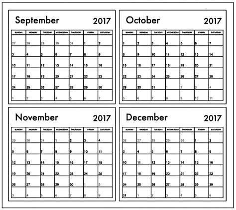 printable calendar for october november and december 2017 october november december 2017 calendar 3 months