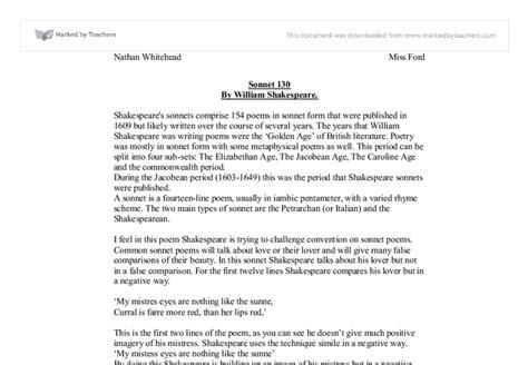 Sonnet 130 Analysis Essay by Sonnet 130 Essay Sonnet 130 Analysis Essay Sonnet 130 Essay Shakespeare S Sonnet 130