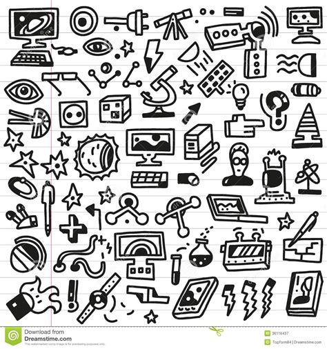 doodle science science doodles set royalty free stock photography