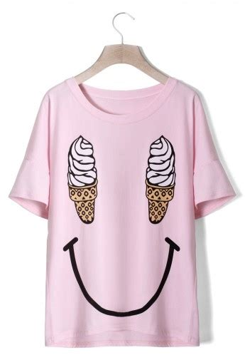 M 2723 Knit Tshirt Smile by Smile T Shirt In Pink Retro And