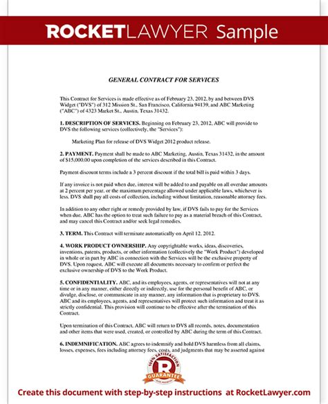 General Service Contract Template general contract for services form template with sle