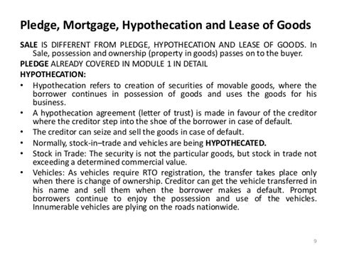 Mortgage Bailee Letter Sale Of Goods Act 1930