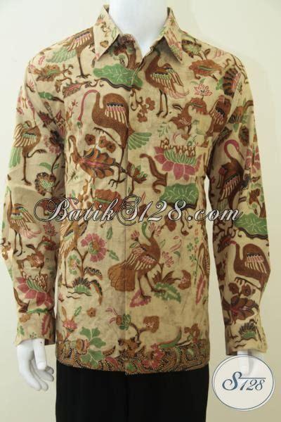 Batik Bangau Tulis baju kemeja batik pria motif burung bangau unik elegan