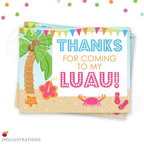 free printable luau thank you cards hula party printable thank you 4x5 luau party thank you note