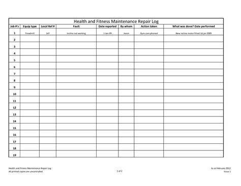 maintenance log template best photos of machine maintenance log sheet template