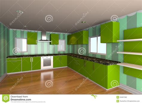 kitchen wallpaper green kitchen room with green wallpaper stock photography