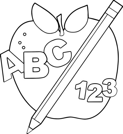 apple computer coloring pages abc border free apple image coloring page wecoloringpage
