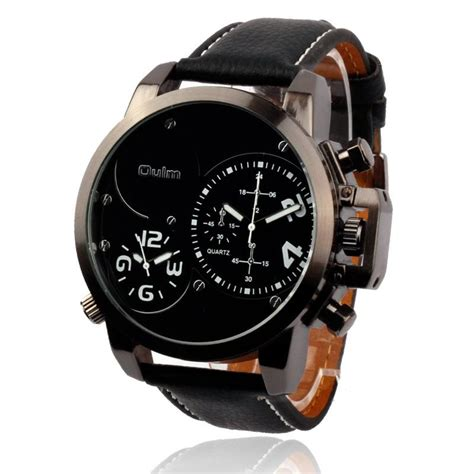 New Fashion Time Leather 2016 new fashion oulm cool dual time leather high quality sport