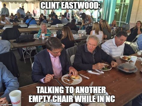 clint eastwood chair meme clint eastwood talking to nc gov while visiting miracle on