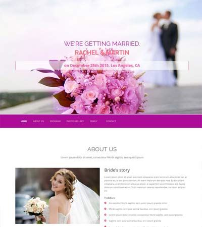 bootstrap themes free wedding wedding free website template design by webthemez