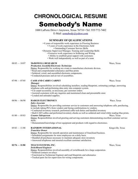 chronological order resume exle dc0364f86 the most chronological resume exle