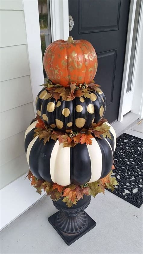 painted stacked pumpkins decoration pictures