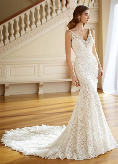 Dress Pearl embroidered v neck fit flare lace wedding gown 217205 pearl