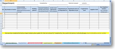 business impact analysis template the continuity advisor