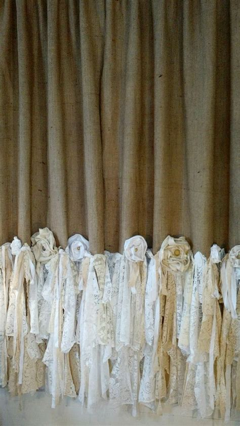 making curtains out of burlap made to order burlap vintage lace curtains 2 panels boho