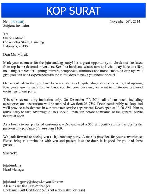 contoh formal invitation resmi contoh waouw