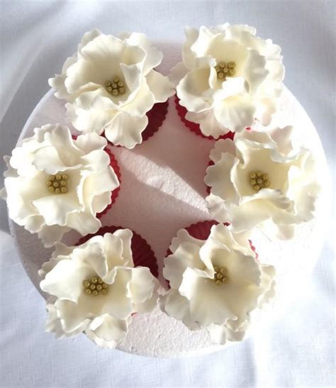 edible cupcake toppers for bridal shower fondant flowers 6 peony cupcake toppers edible flowers