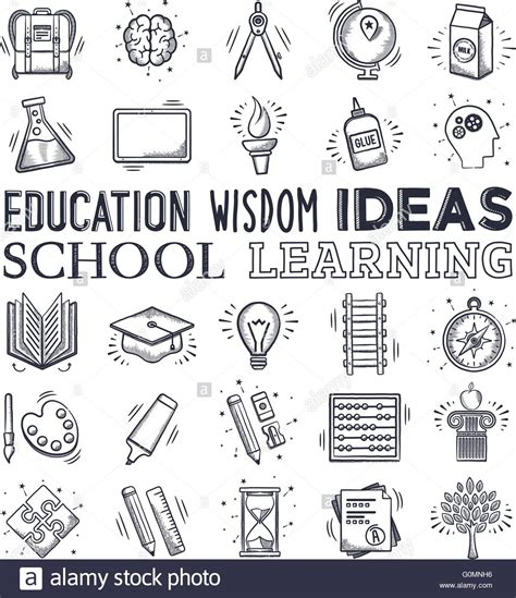 doodle learning education and learning icon set vector doodle