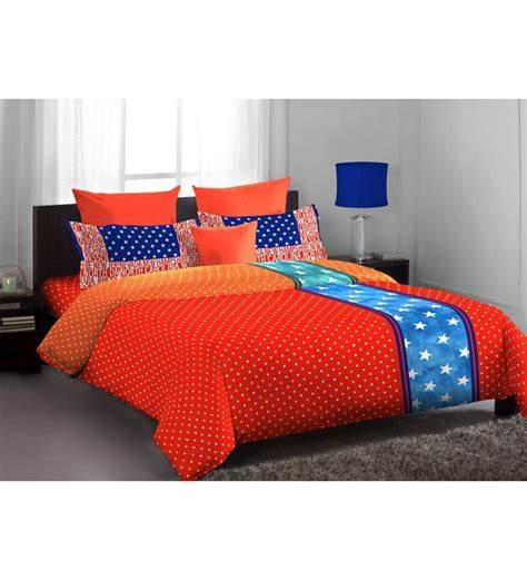 orange blue comforter home expressions usa dark orange blue polka dotted