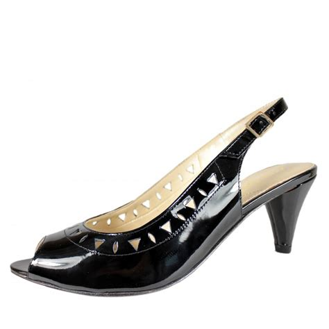 patent leather peep toe shoes selma black patent leather peep toe slingback shoe