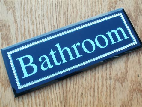 bathroom door sign black silver diamante jewel bedroom bathroom toilet door