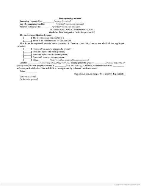 Free Printable Interspousal Grant Deed Form Blank Word Grant Deed Template California