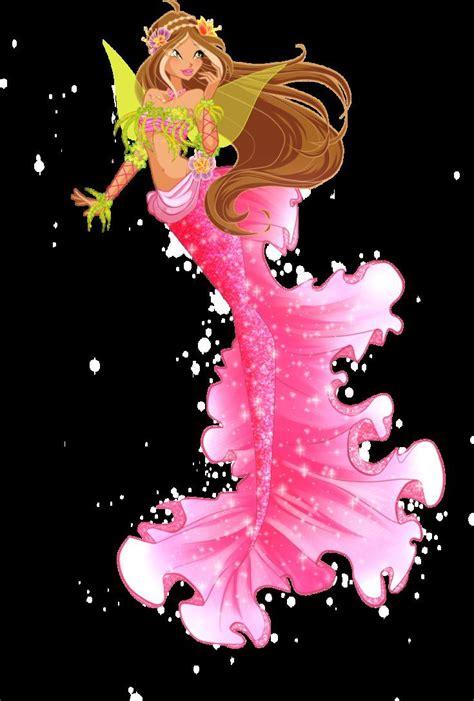 mermaid fairy winx club as mermaids flora brunette hair cosplay