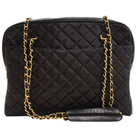 Black Quilted Chain Shoulder Bag by Chanel Vintage Quilted Black Lambskin Leather Gold Chain