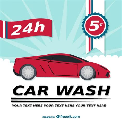 car wash template 24h car wash template vector free