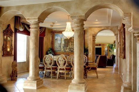 mediterranean dining room mediterranean dining room with complex marble tile floors